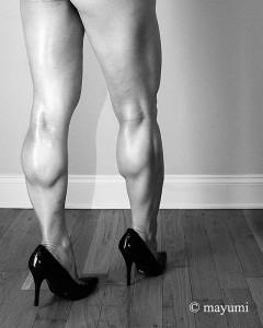Rikochan's muscular legs in high heels.